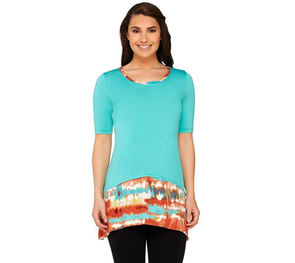 cd0d8612259c7 LOGO by Lori Goldstein Regular Knit Top with Printed Trim - Page 1 — QVC.com