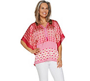Susan Graver Printed Charmeuse Scarf Top - A290780