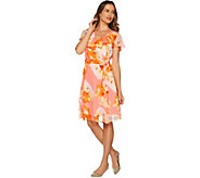 Isaac Mizrahi Live! Exploded Floral Chiffon Ruffle Dress - A292080