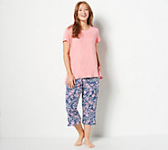 Cuddl Duds Smart Comfort Short Sleeve Tee & Cropped Pant PJ Set - A302380
