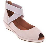 Gentle Souls Leather Peep Toe Wedges - Lisa - A303580