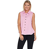 Joan Rivers Sleeveless Stretch Denim Swing Shirt - A304680