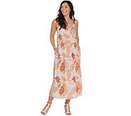 LOGO by Lori Goldstein Challis Printed Camisole Dress w/ Side Slits - A305480