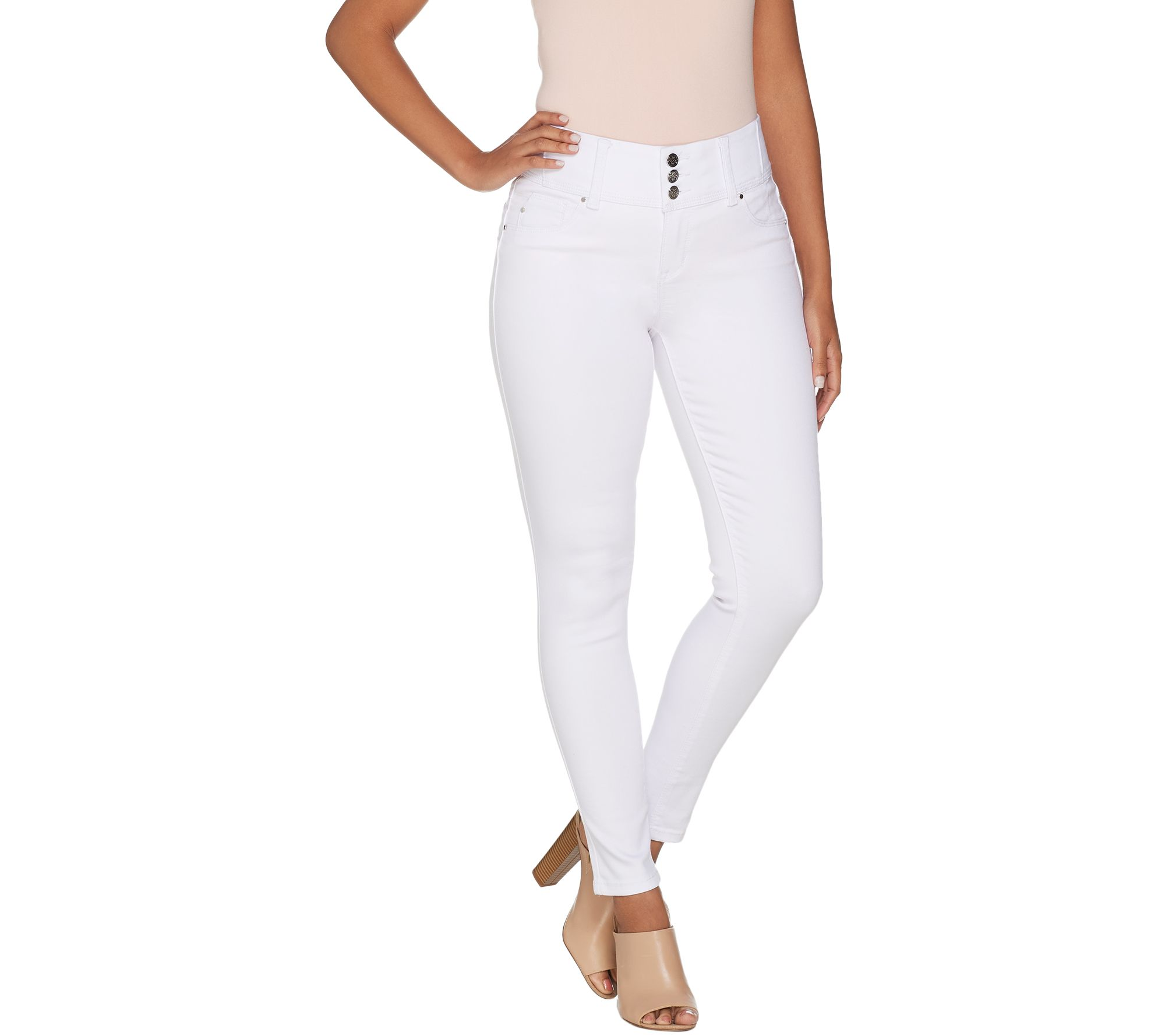Laurie Felt Silky Denim Curve Skinny Ankle Jeans White M NEW A305680