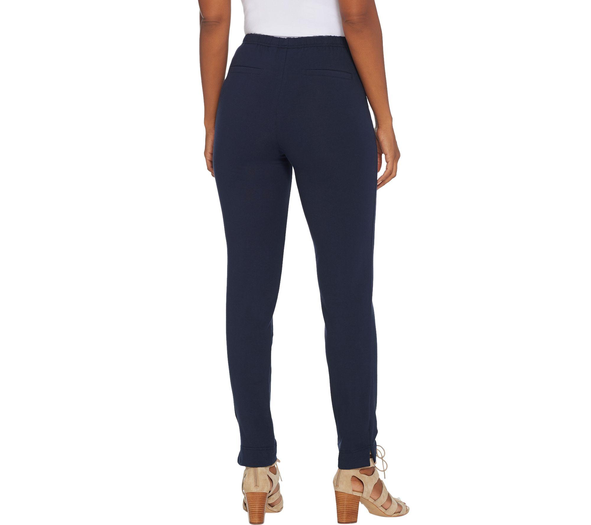Women with Control Slim Leg Ankle Pants Faux Pockets White 2X NEW A306480
