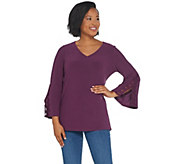 Susan Graver Textured Liquid Knit Tunic with Lace Trim - A310080