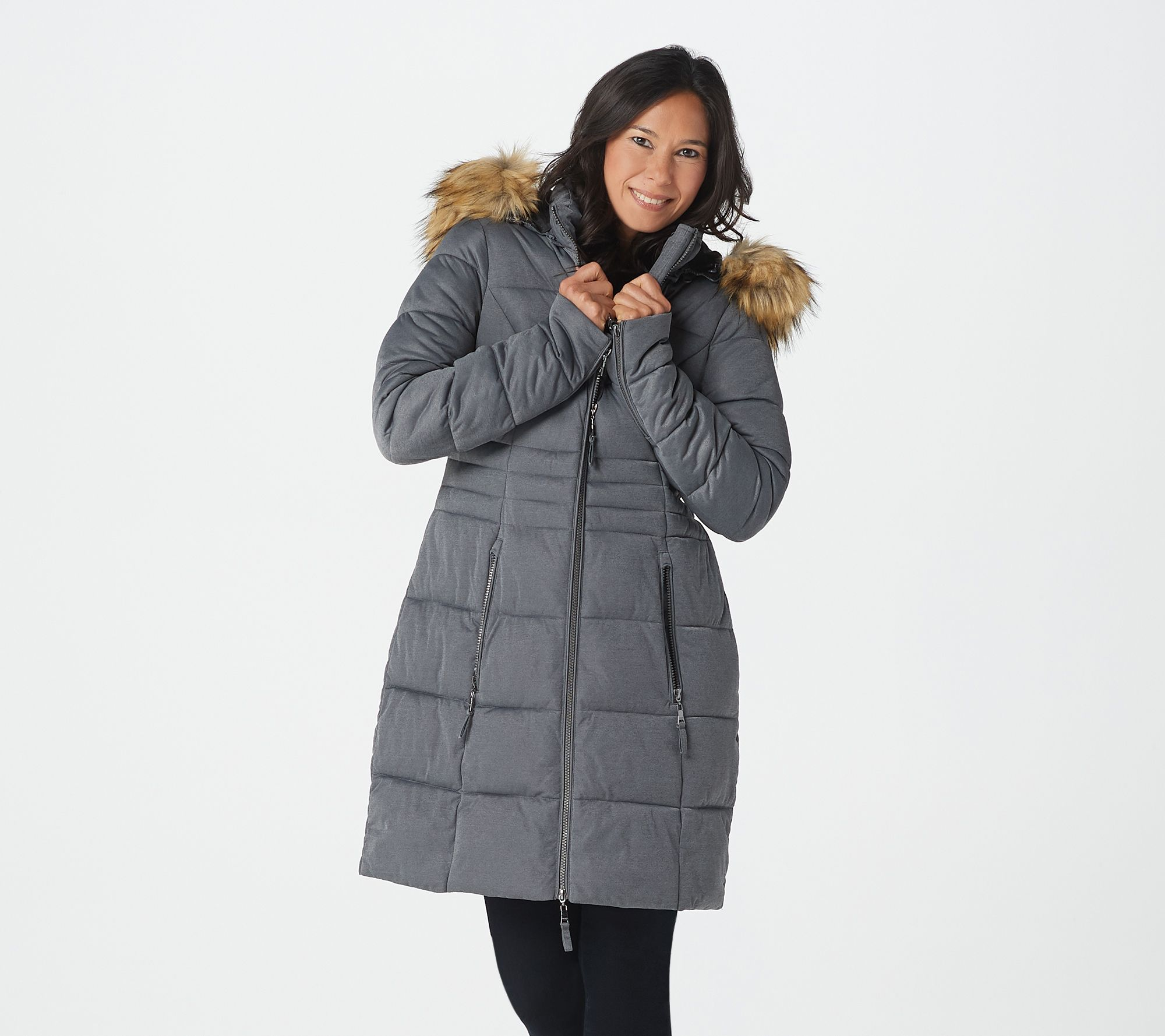 a45e02b54 Nuage Stretch Puffer Coat with Removable Hood & Faux Fur - Page 1 — QVC.com