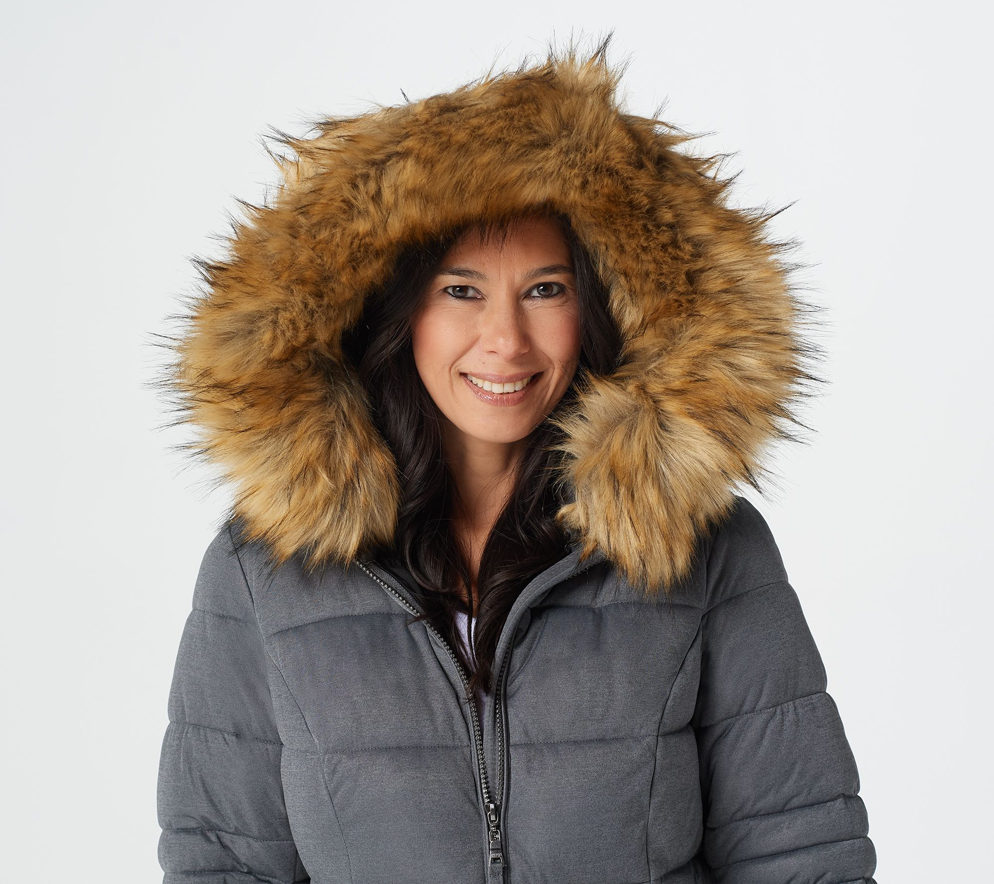 cfb83cfb369 Nuage Stretch Puffer Coat with Removable Hood   Faux Fur - Page 1 ...