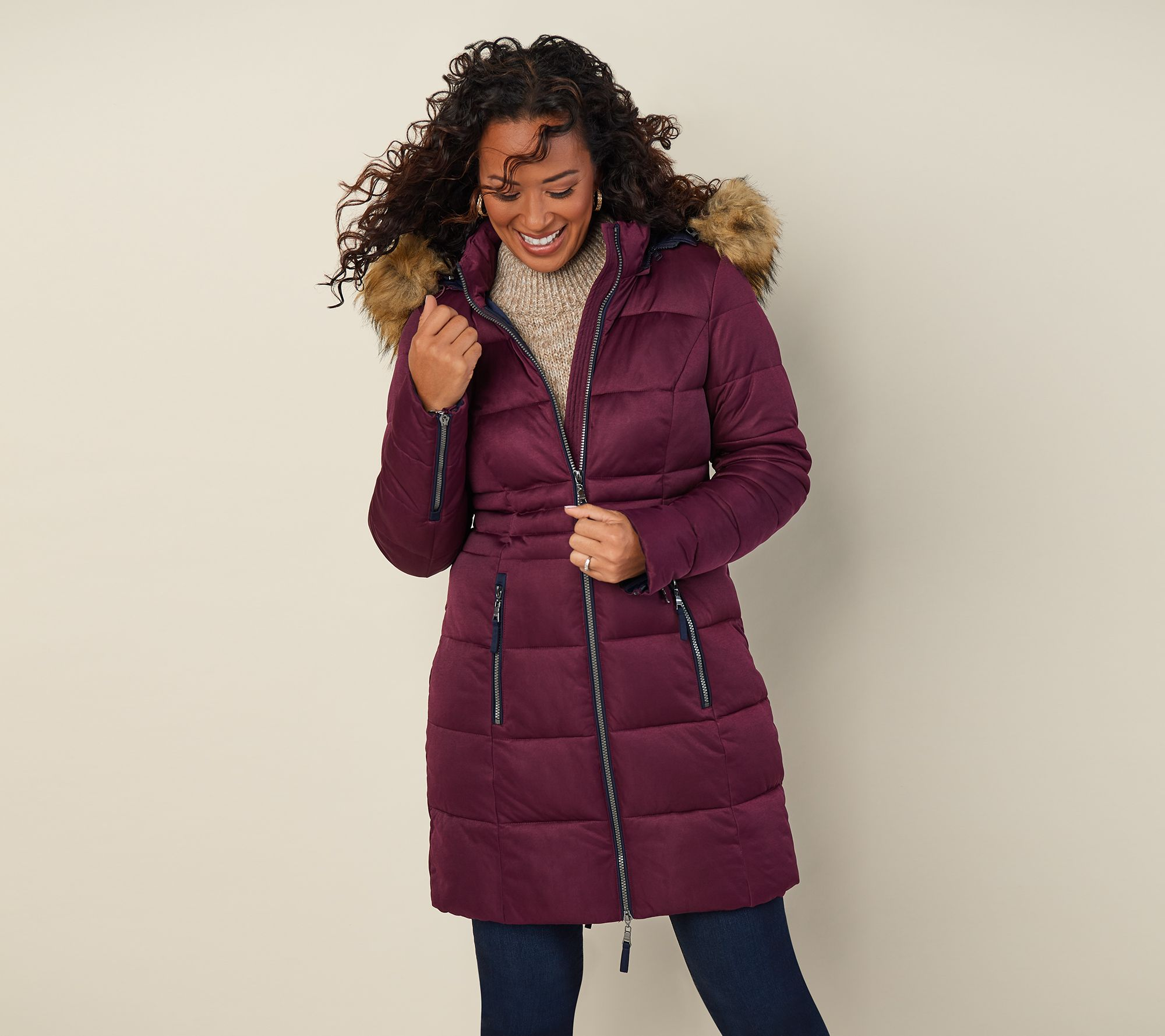 5ce0abcfc3a0 Nuage Stretch Puffer Coat with Removable Hood   Faux Fur - Page 1 — QVC.com