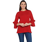 Isaac Mizrahi Live! 2-Ply Cashmere Ruffle Bell Sleeve Sweater - A343580