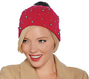 Isaac Mizrahi Live! 2-Ply Cashmere Hat w/ Faux Pearls and Faux Fur Pompom - A343880