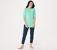 Cuddl Duds Smart Comfort Short Sleeve Tee & Cropped Pant Set - A346880