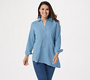 Joan Rivers Denim Tunic with Asymmetric Hem - A349280
