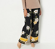 Susan Graver Petite Printed Liquid Knit Pull-On Pants - A350180