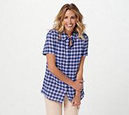 Joan Rivers Short Sleeve Crinkle Texture Buffalo Check Shirt - A397480