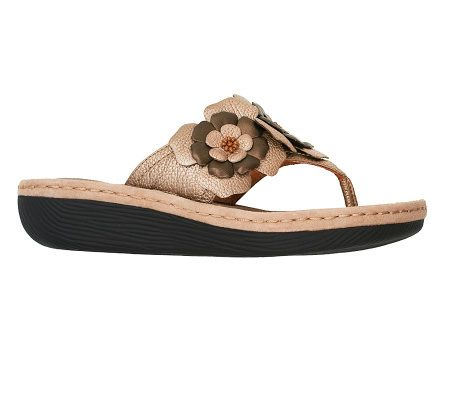 68a3f7a399db2 Clarks Artisan Latin Flower Leather Thong Sandals - Page 1 — QVC.com
