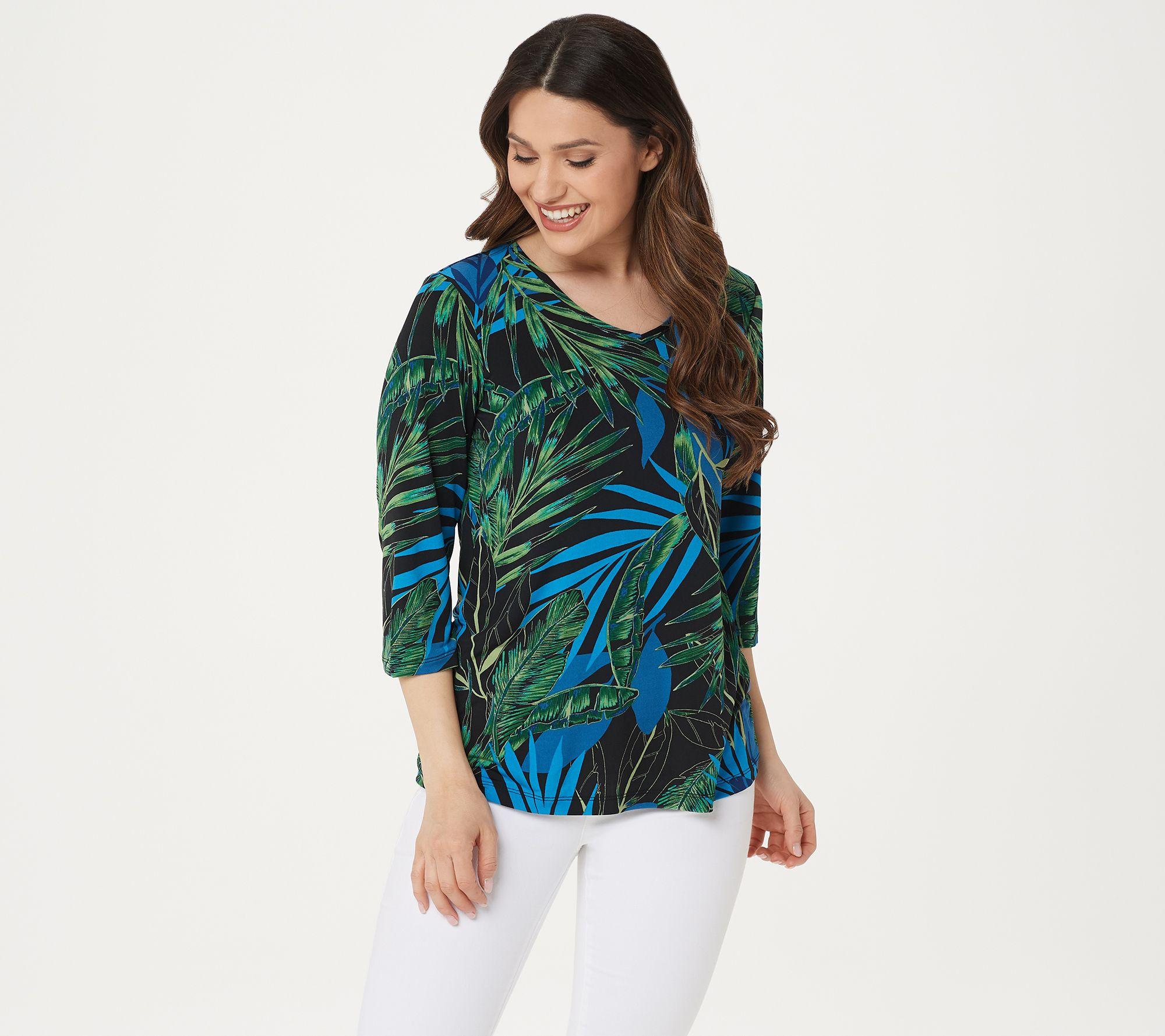 ca1b21a5d59 Susan Graver Printed Liquid Knit V-neck 3/4 Sleeve Top - Page 1 — QVC.com