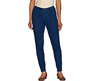 Isaac Mizrahi Live! Petite Knit Denim Ankle Jeans - A266881