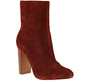 Sole Society Suede Mid-Calf Stacked Heel Boots - Veronika - A279881