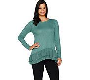 LOGO by Lori Goldstein Solid Slub Sweater Knit Top w/ Challis - A292781