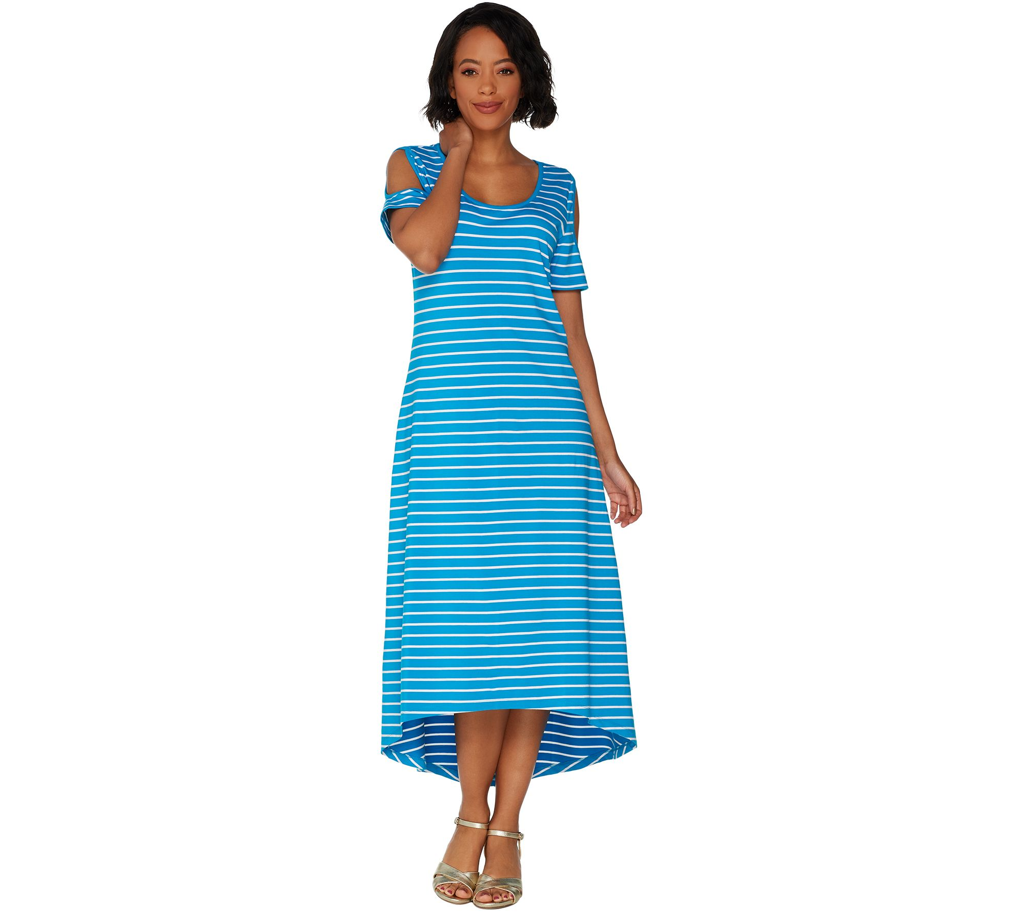 a5b2b0132820 Isaac Mizrahi Live! Striped Cold Shoulder Hi-Low Maxi Dress - Page 1 ...