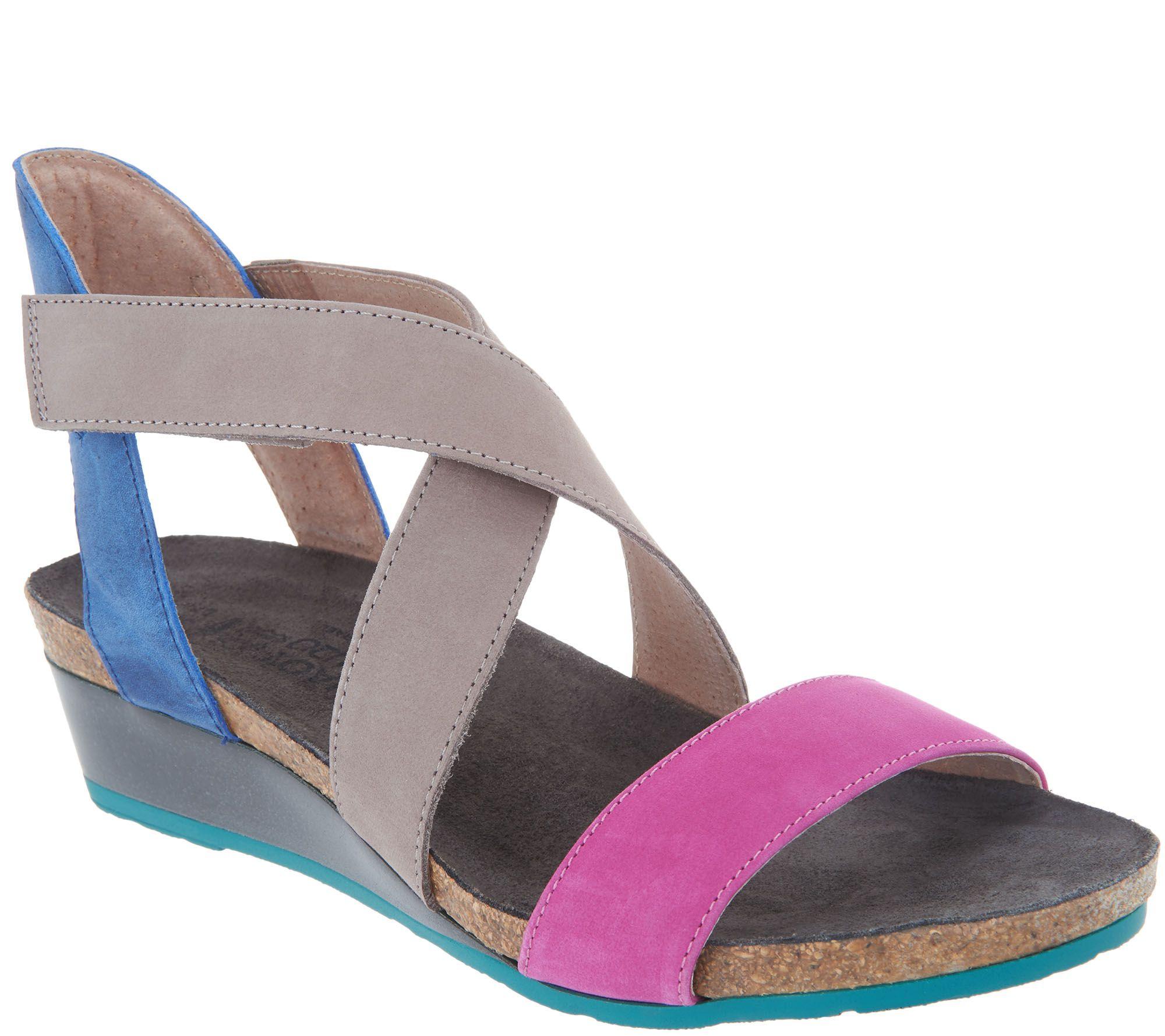 03e84056b7a Naot Leather Cross Strap Wedge Sandals - Vixen - Page 1 — QVC.com