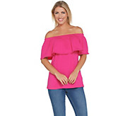 Denim & Co. Stretch Jersey Ruffle Top with Dot Lace Trim - A307081
