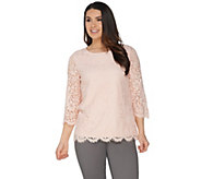 Martha Stewart Crew Neck 3/4 Sleeve Floral Lace Top - A307681