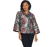 Isaac Mizrahi Live! Special Edition Floral Jacquard Bell Sleeve Jacket - A311381