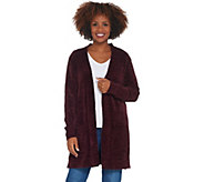 Denim & Co. Petite Chenille Long- Sleeve Open- Front Cardigan - A311581