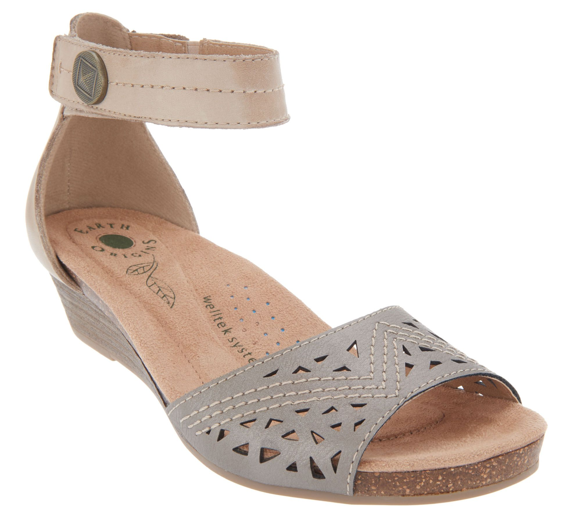 64e25378c77c5a Earth Origins Wedge Sandals with Ankle Strap - Honey - Page 1 — QVC.com