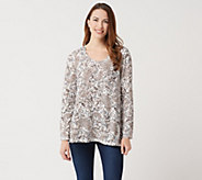 Joan Rivers Paisley Print Knit Top with Long Sleeves - A347281