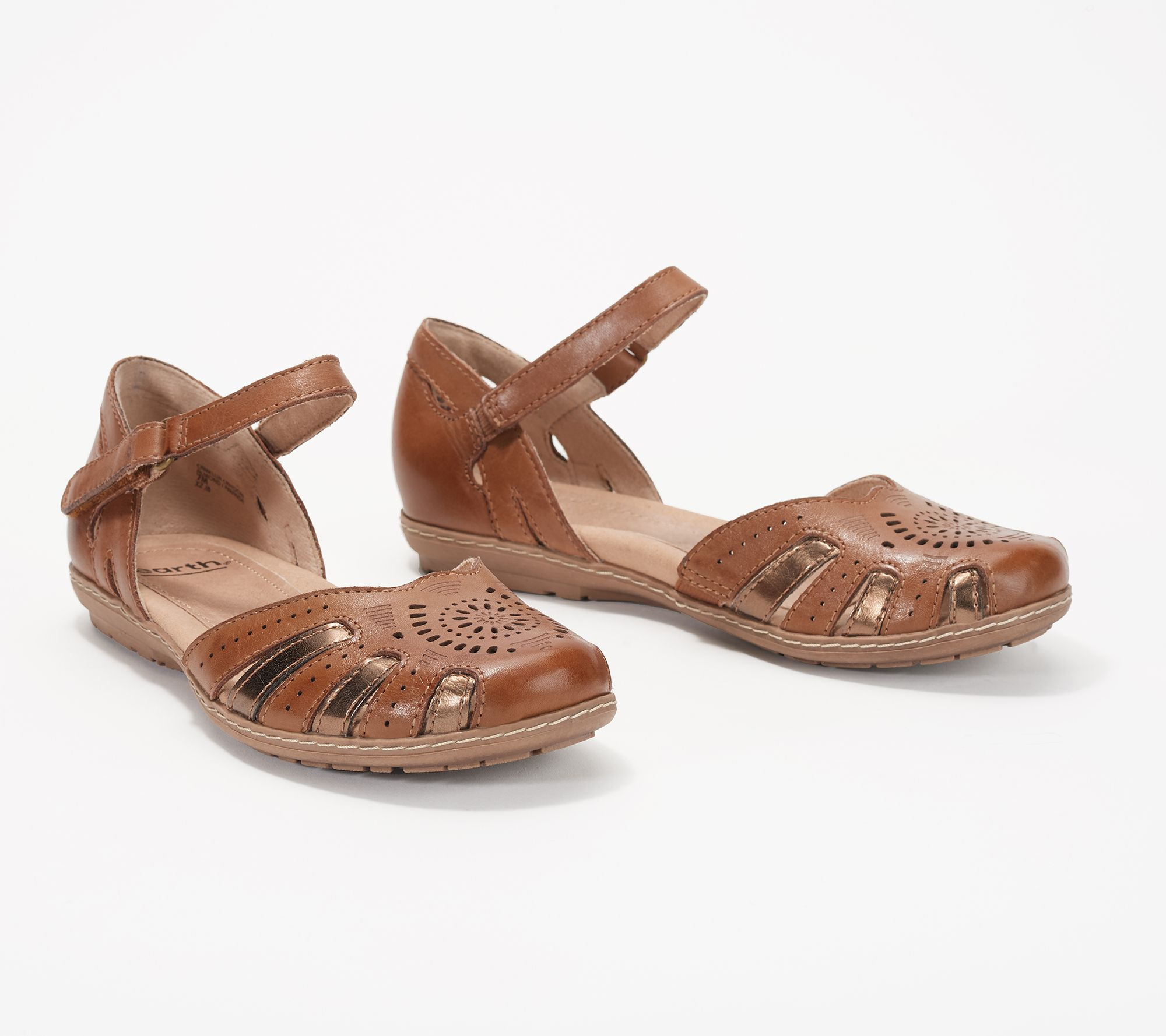 e2dab3625b46 Earth Leather Mary Jane Sandals - Camellia Cahoon - Page 1 — QVC.com