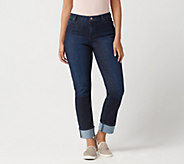 Susan Graver Regular High-Stretch Denim Cuffed Ankle Jeans - A350181