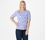 Denim & Co. Printed Jersey V-Neck Elbow-Sleeve Top - A352781