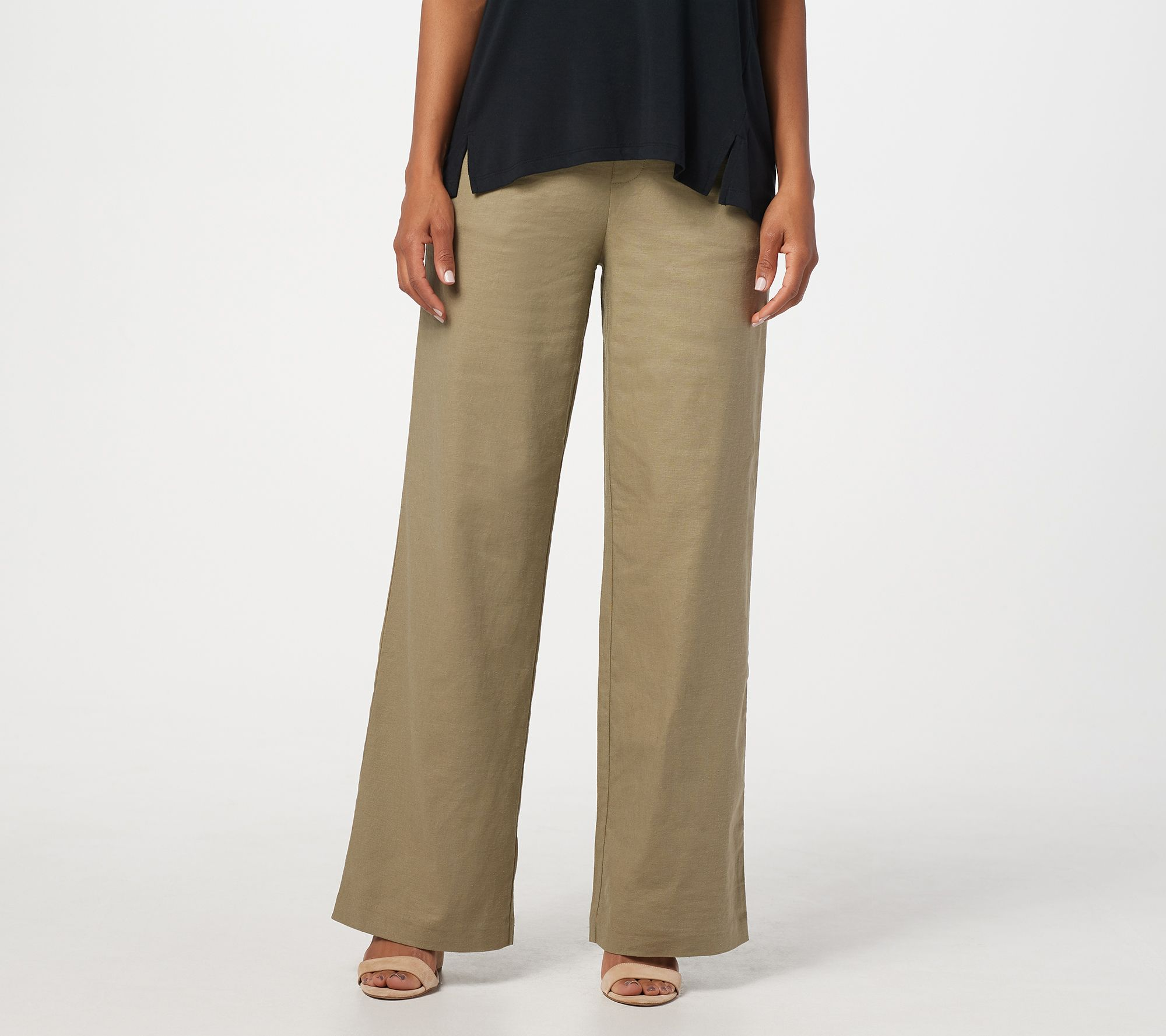 great discount huge inventory size 40 H by Halston Petite Linen Blend Pull-On Full-Length Wide-Leg Pants — QVC.com