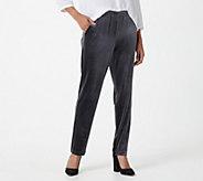 Joan Rivers Regular Pull-On Velour Slim Pants - A391081