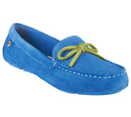 Isaac Mizrahi Live! Suede Moccasins with Contrast Bow - A251782