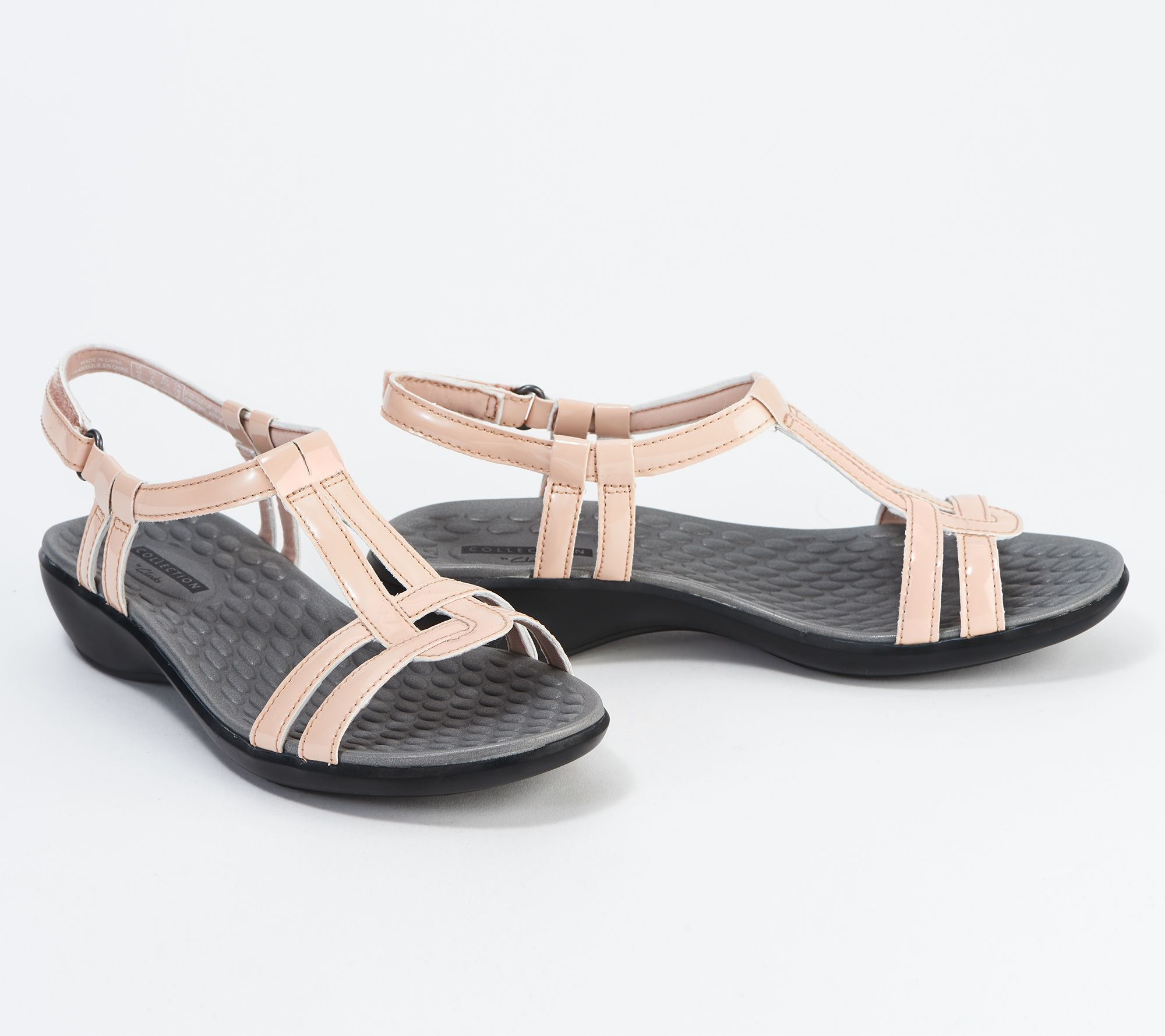 8d24f4b7187 Clarks Patent T-Strap Sandals - Sonar Aster - Page 1 — QVC.com