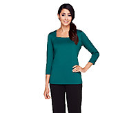 Susan Graver Essentials Butterknit Square Neckline 3/4 Sleeve Top - A257982