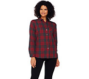 Denim & Co. Brushed Cotton Plaid Shirt - A260282