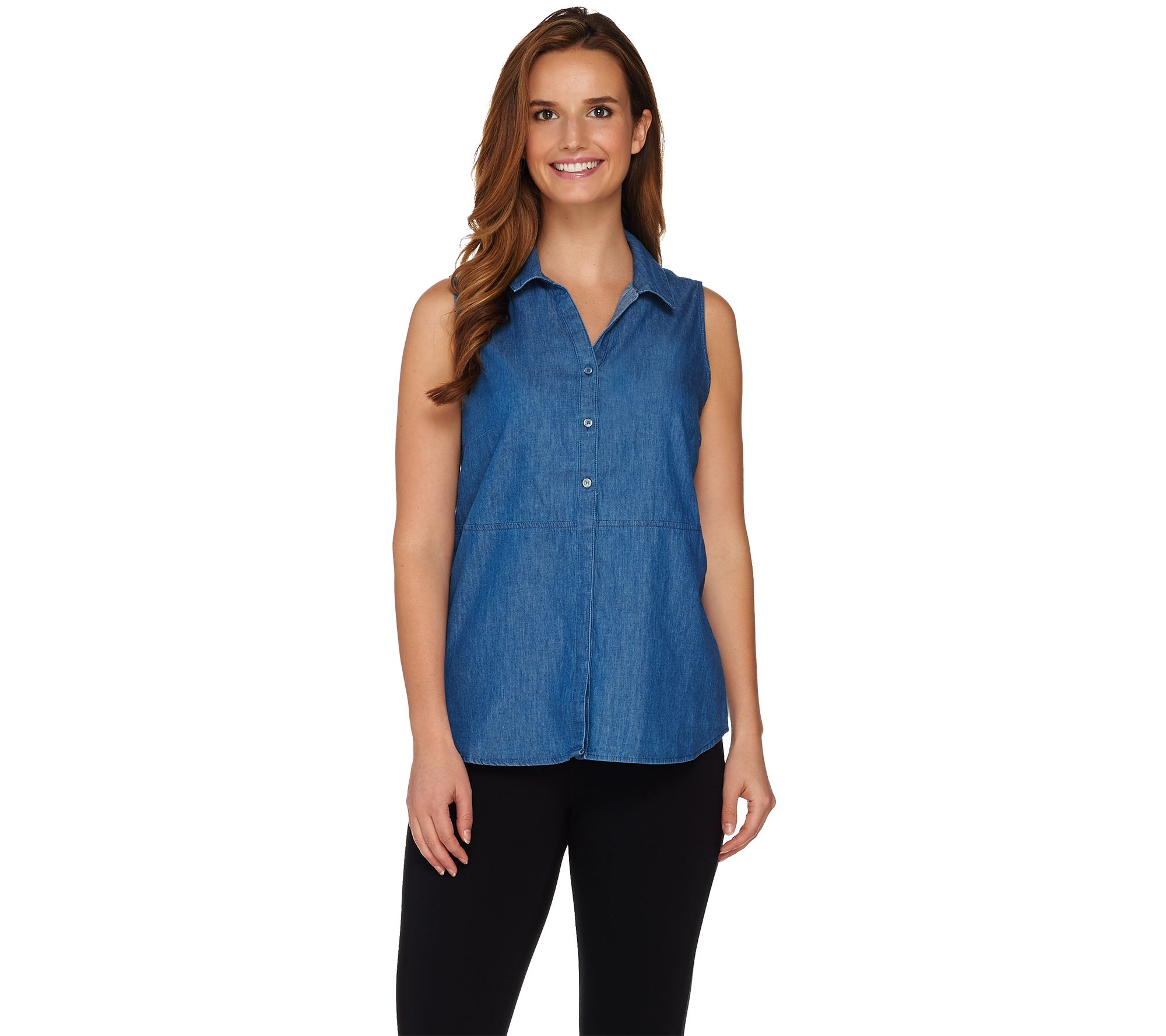 224f782a2abf1 Kelly by Clinton Kelly Button Front Sleeveless Denim Top - Page 1 — QVC.com