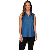 Kelly by Clinton Kelly Button Front Sleeveless Denim Top - A279082
