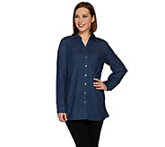 Denim & Co. Petite Stretch Button Front Shirt with Pockets - A280782