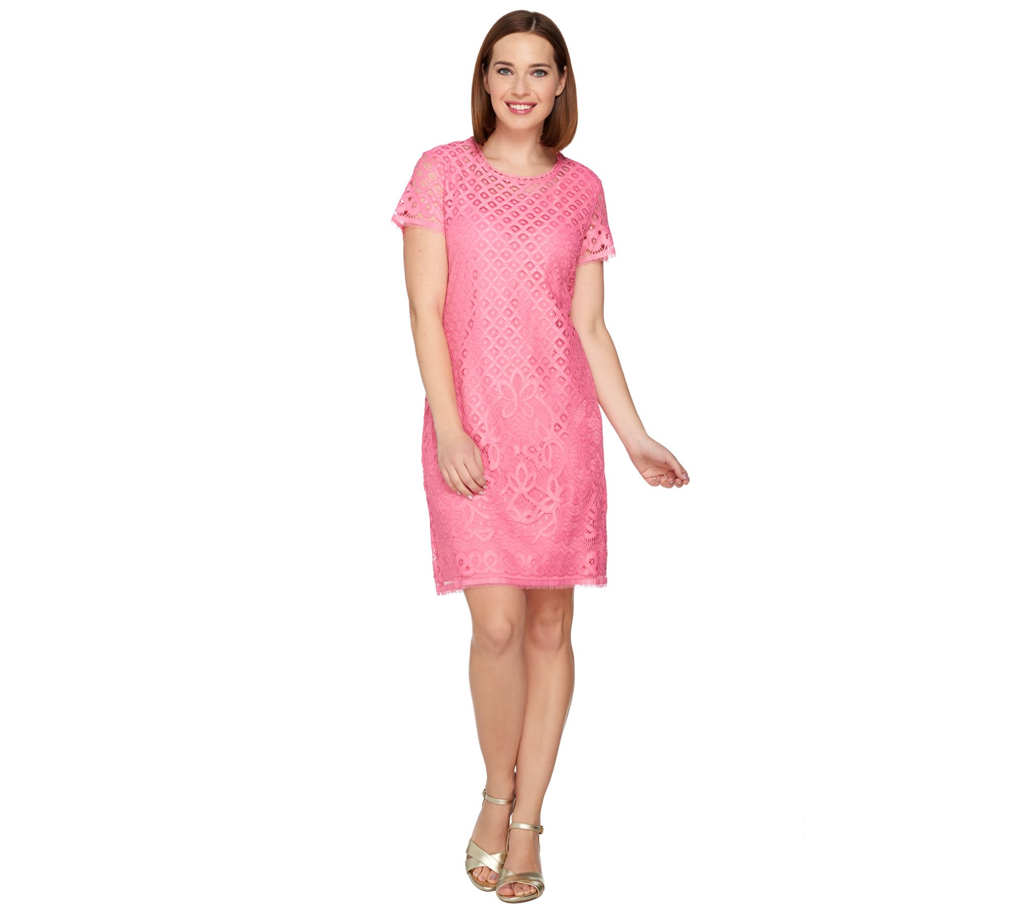 Isaac Mizrahi Live! Stretch Lace Short Sleeve Dress — QVC.com