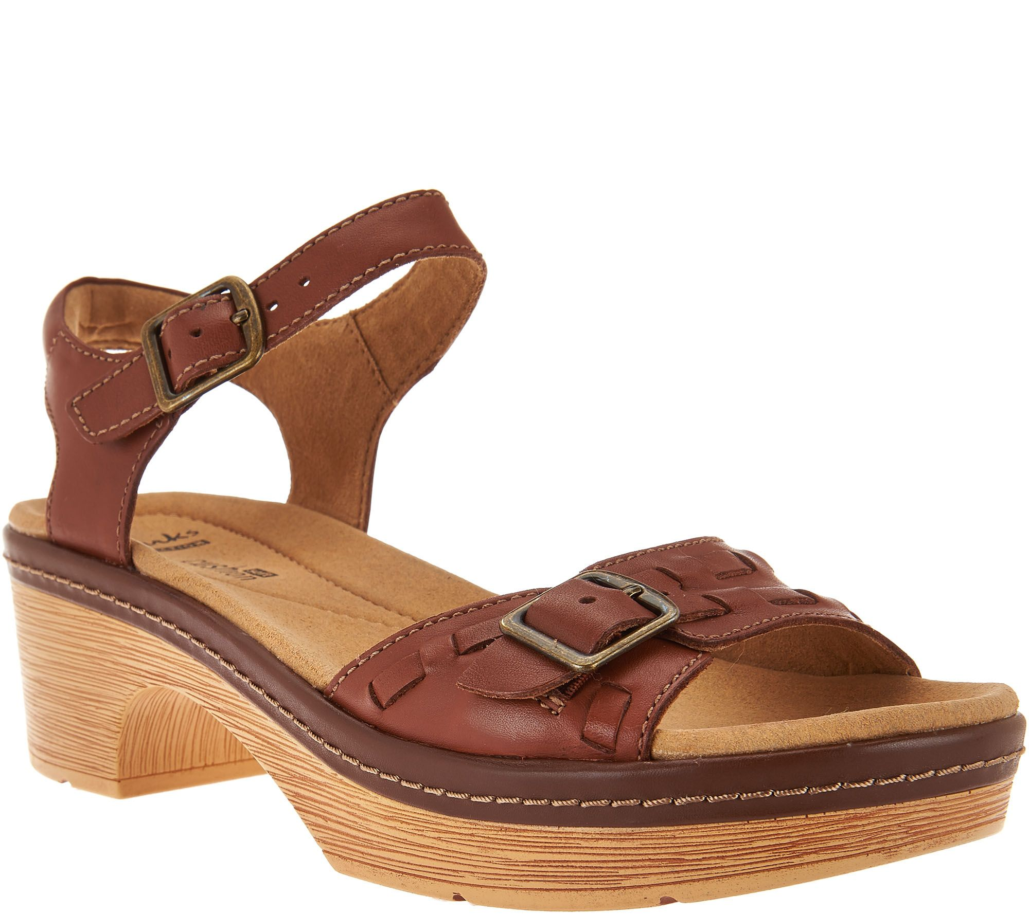 2177f3271 CLARKS Womens Tan Ankle Closure Flat Sandal S For SHOES