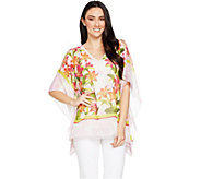 Susan Graver Sheer Chiffon Cold Shoulder Scarf Top and Tank Set - A289282