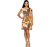 LOGO Lounge by Lori Goldstein French Terry Printed V-Neck Knit Dress - A290482