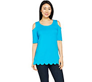 Isaac Mizrahi Live! Cold Shoulder Knit Tunic with Scallop Hem - A290882