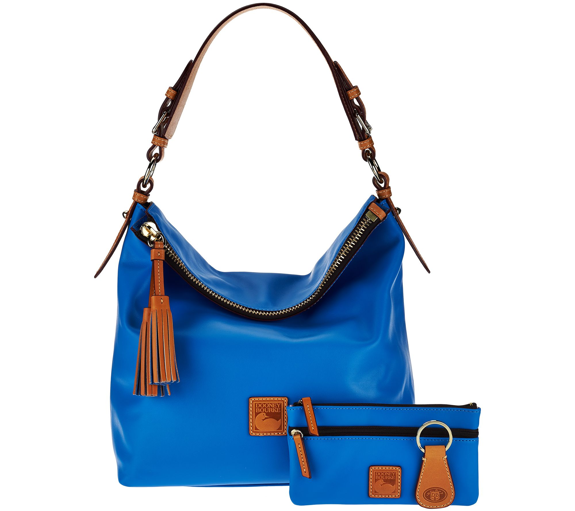 0c227fbb99a Dooney   Bourke Smooth Leather Hobo with Accessories - Page 1 — QVC.com